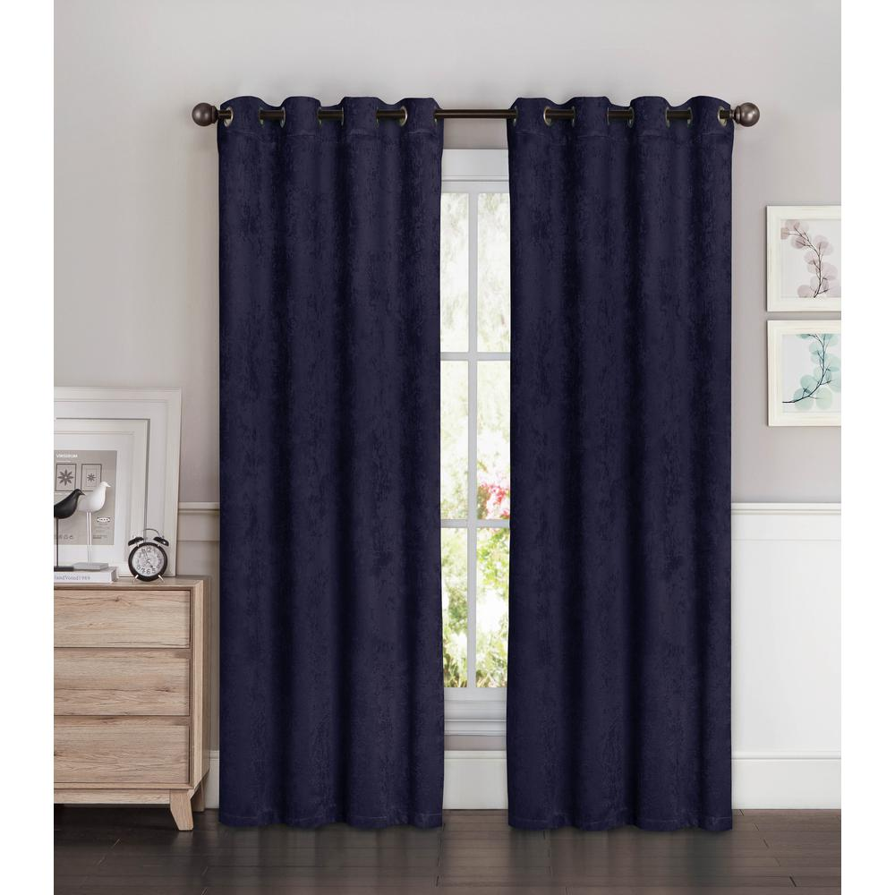 Bella Luna Blackout Faux Suede Extra Wide 96 in. L Room Darkening Grommet Curtain Panel Pair in Indigo (Blue) (Set of 2)