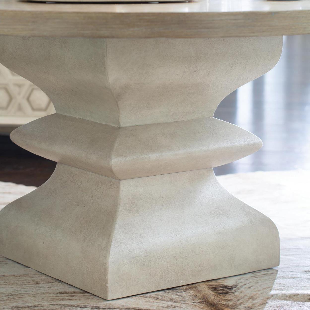 Sarabeth Modern French Brown Wood White Hexagon Pedestal Base Round Dining Table - 60D