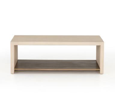 Concrete Coffee Table, White/Antique Brass