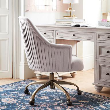 Pleated Desk Chair, Everyday Velvet Rose