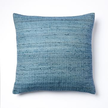 """Woven Silk Pillow Cover, 20""""x20"""", Midnight"""