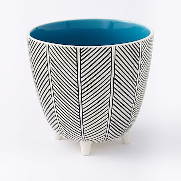 """Art in the Forest Cachepot, Herringbone/Teal, 6"""""""