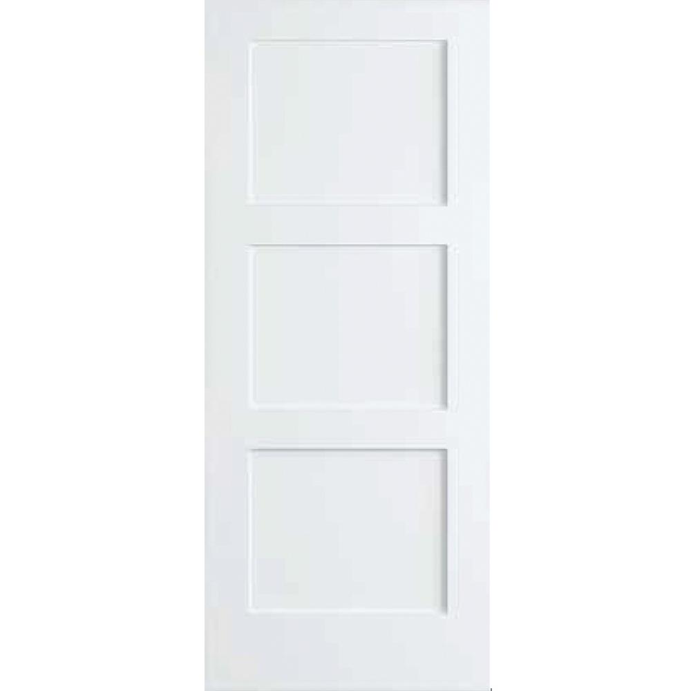 Kimberly Bay 30 in. x 80 in. White 3-Panel Shaker Solid Core Pine Interior Door Slab, Primed