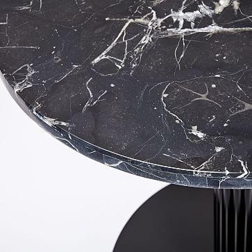 Orbit Base Round Bistro Table, Black Marble, Antique Bronze/Blackened Brass