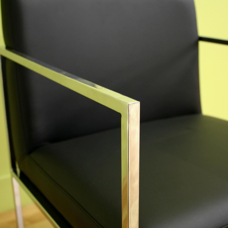Baxton Studio Atalo Black Leather Chair