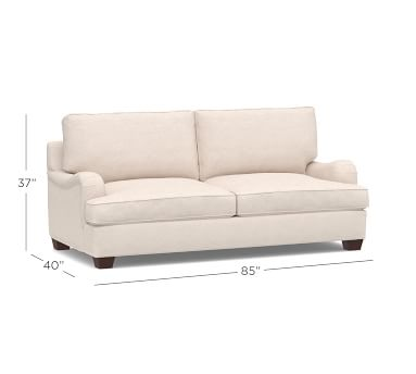 PB English Arm Upholstered Sleeper Sofa, Box Edge Polyester Wrapped Cushions, Performance Twill Warm White