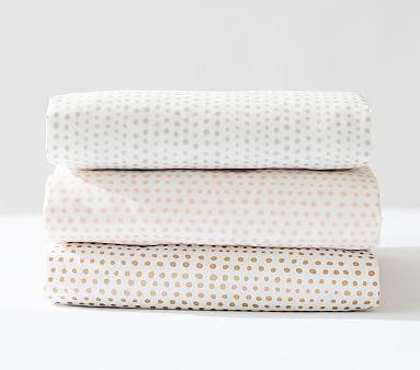 Organic Blush Falling Dot Crib Fitted Sheet