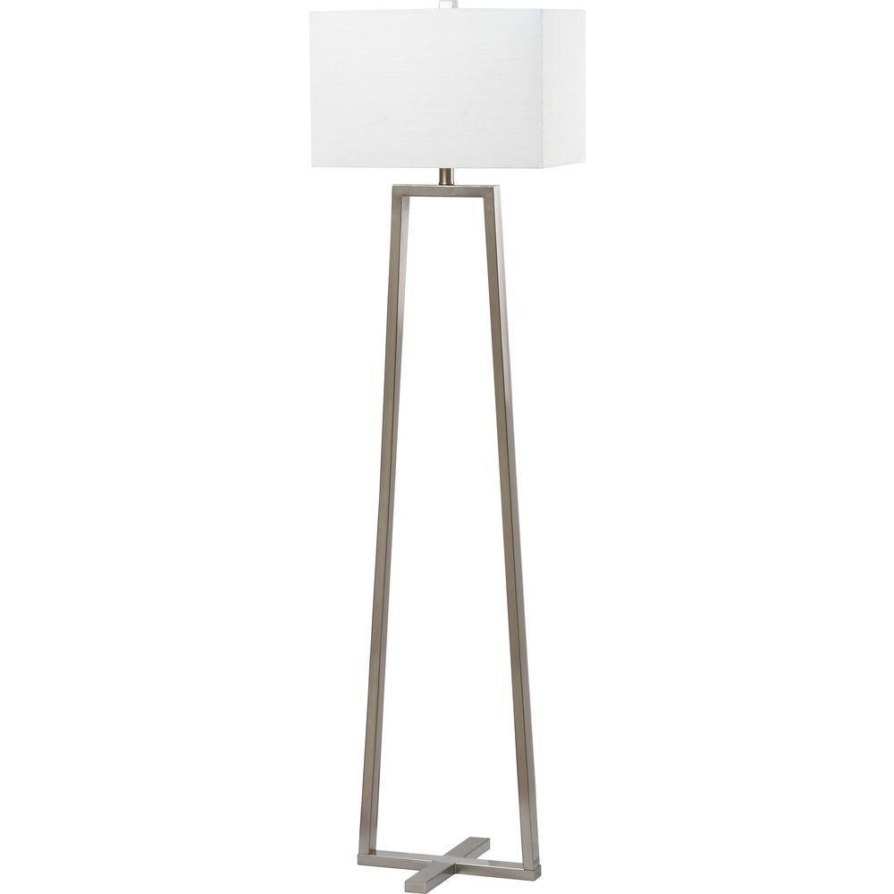 Safavieh Lyell 60 in. Nickel Floor Lamp with White Shade