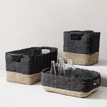 Two-Tone Woven Underbed Basket, Black/Tan - underbed