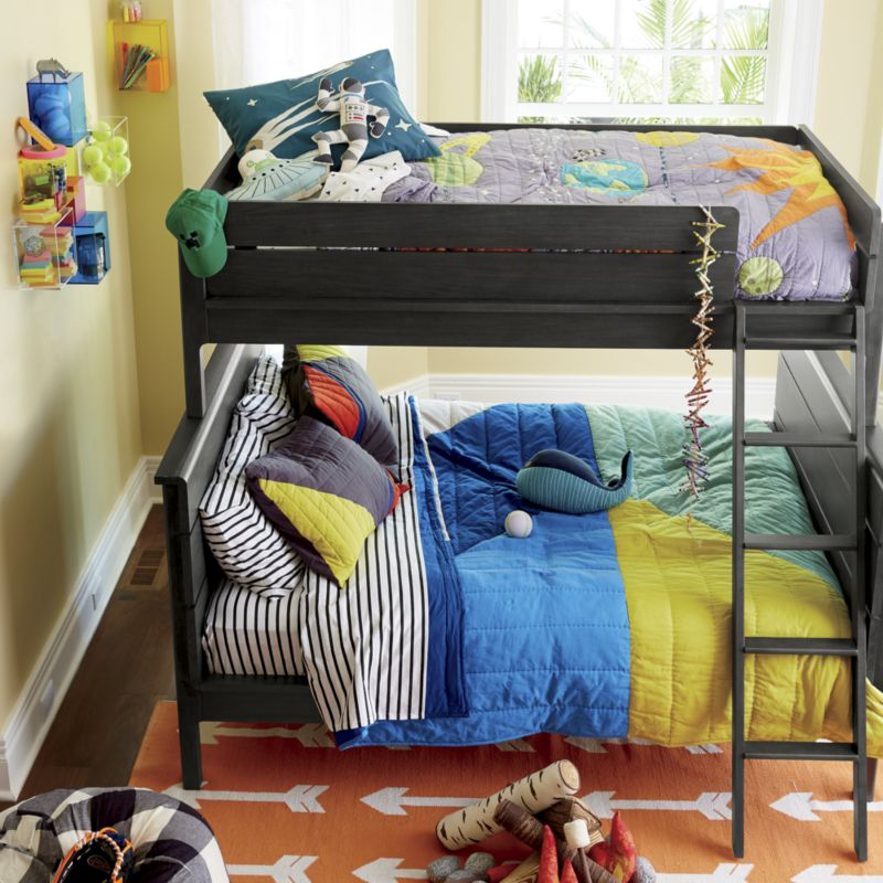 Wrightwood Denim Blue Twin-Over-Full Bunk Bed