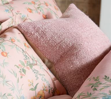 "Faye Textured Linen Pillow Cover, 20"", Mauve"