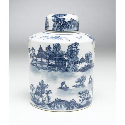 Cylindrical Porcelain Storage Jar with Lid