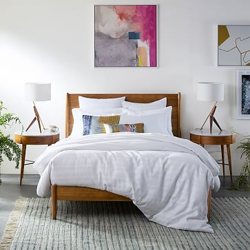 Caldas Table Lamp, White Linen, Walnut, Brass