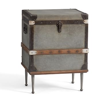 Kirkwood Trunk Side Table , Galvanized