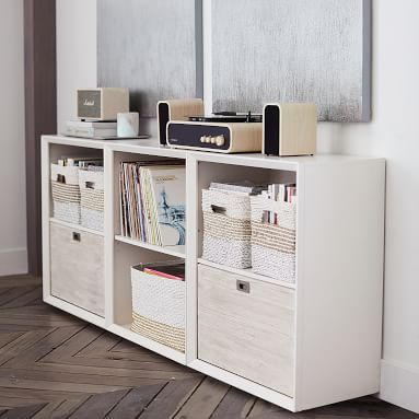 Callum Triple Wide Set, 2 Cubbies + 1 Three-Drawer, Weathered White/ WB Simply White