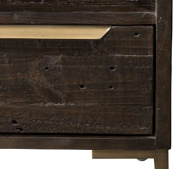 Braden Reclaimed Wood Nightstand, Dark Carbon/Antique Brass