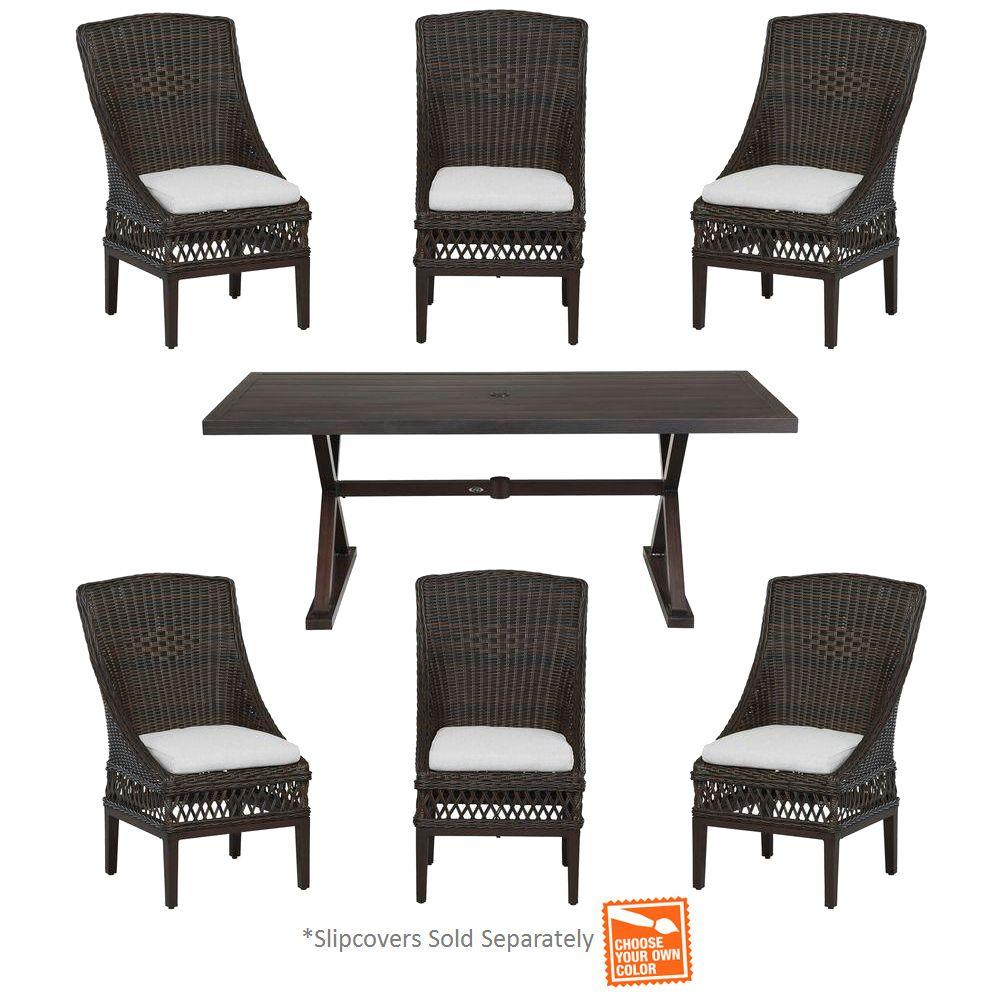 Hampton Bay Woodbury 7-Piece Wicker Outdoor Patio Dining Set with Cushions Included, Choose Your Own Color