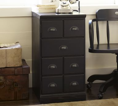 Printer's Bluff Cut Drawer Door Cabinet Pedestal with Single Top, Seadrift