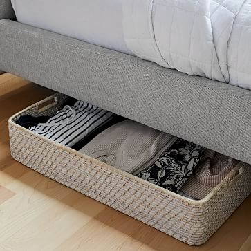 Modern Weave Underbed Storage Basket, Whitewashed