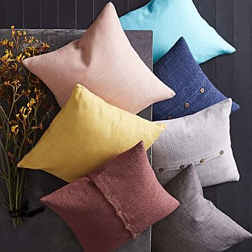 "Silk Hand-Loomed Pillow Cover, Dark Horseradish, 20""x20"""