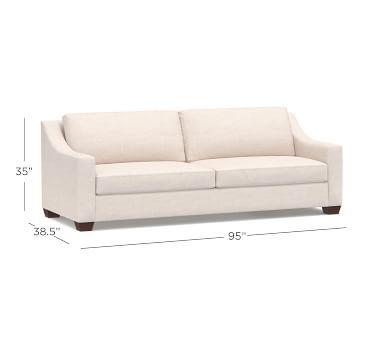 "York Slope Upholstered Grand Sofa 95"" with Bench Cushion, Down Blend Wrapped Cushions, Sunbrella(R) Performance Herringbone Oatmeal"