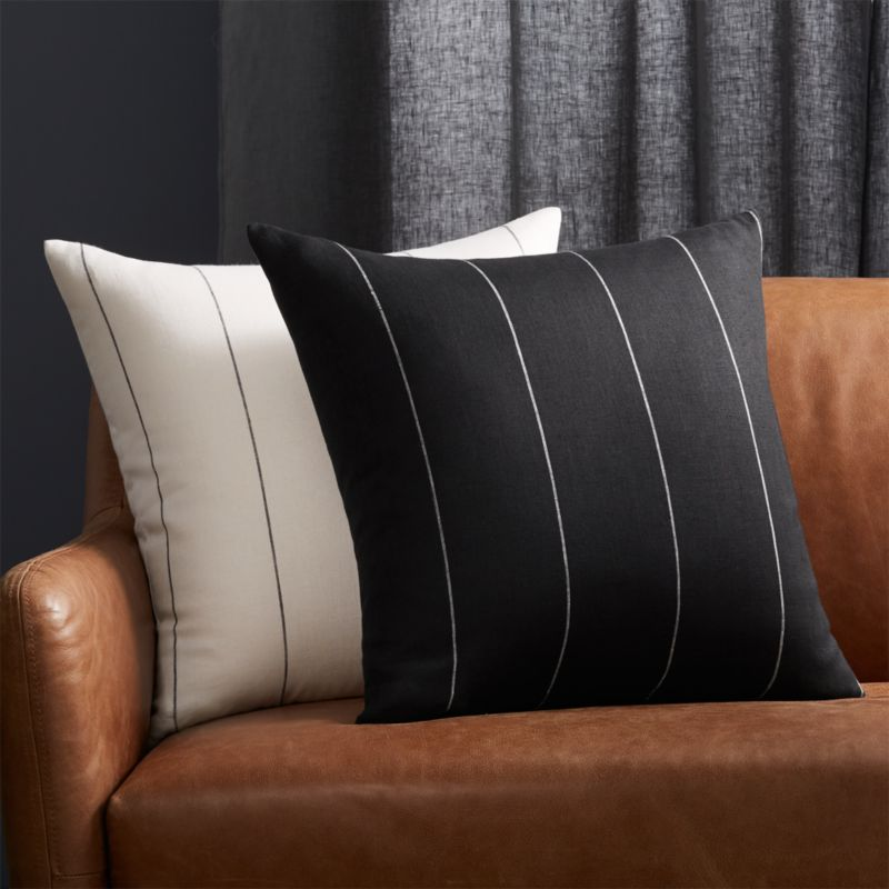 """20"""" Pinstripe Black Linen Pillow with Feather-Down Insert"""