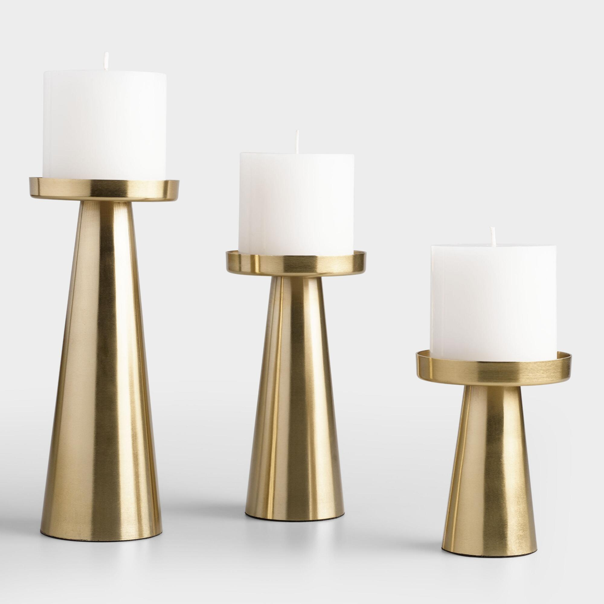 Brushed Gold Metal Contemporary Pillar Candleholder Small By World Market Small World Market Cost Plus