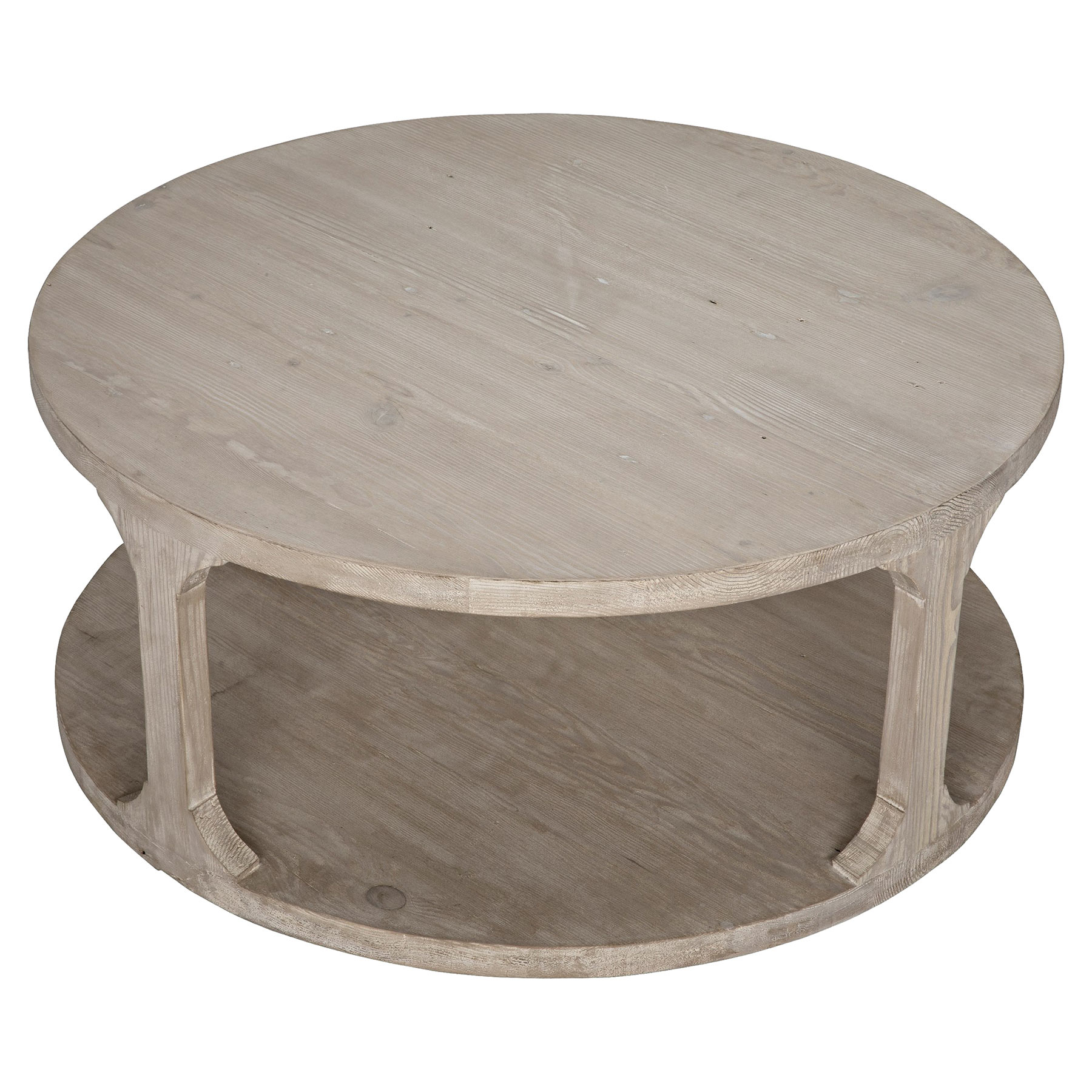 Andre Coastal Beach Grey Washed Reclaimed Wood Round Coffee Table - Small