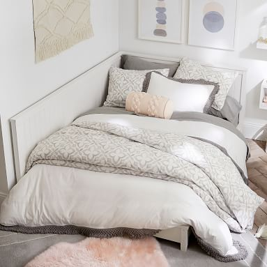 Beadboard Lounge Platform Corner Bed, Full, Simply White