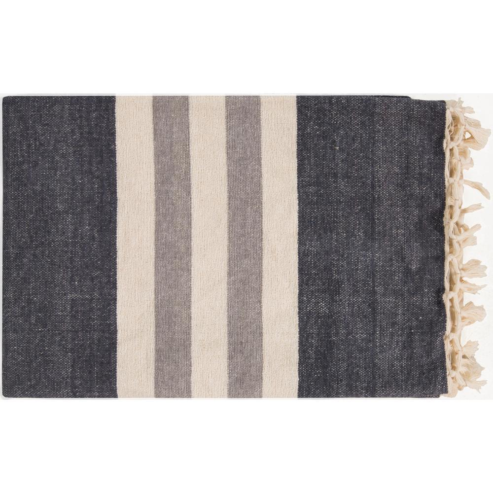 Mack Charcoal Cotton Throw, Grays