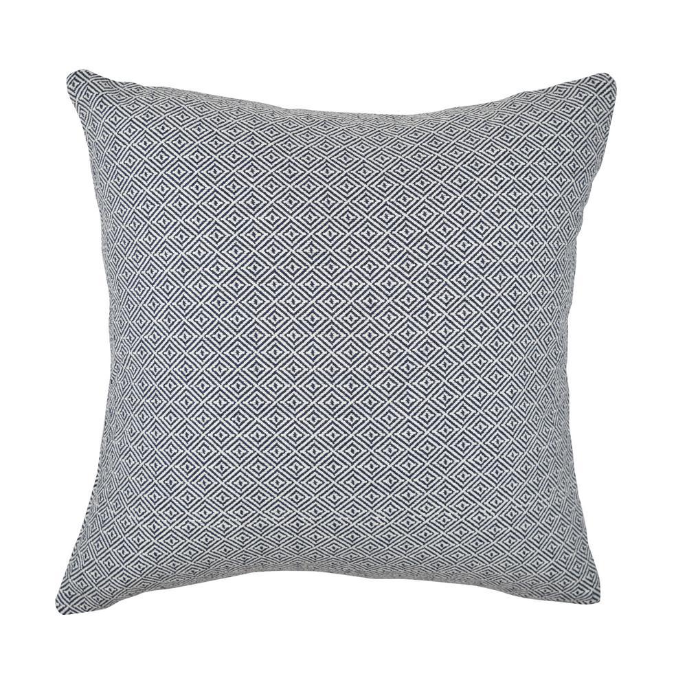 Navy Intricate Geometric Woven Throw Pillow, Blue