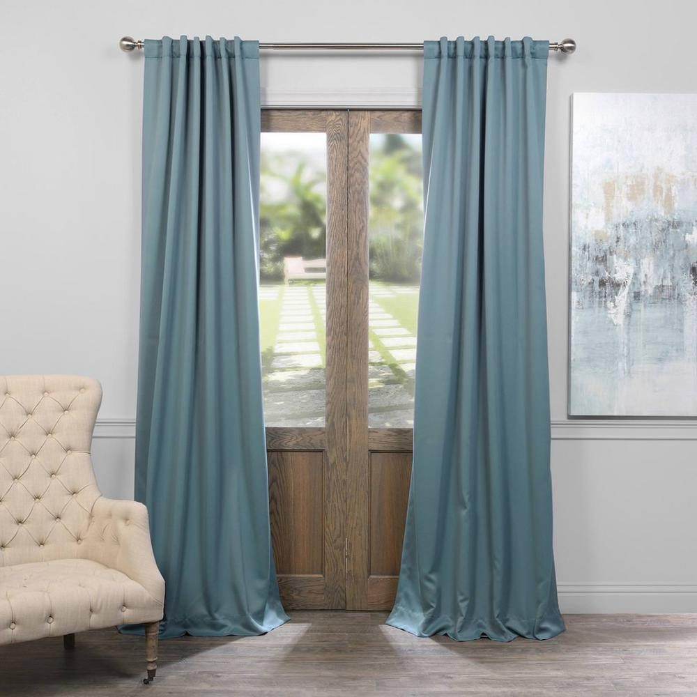 Exclusive Fabrics & Furnishings Semi-Opaque Dragonfly Teal Blackout Curtain - 50 in. W x 96 in. L (Panel), Dragonfly Blue