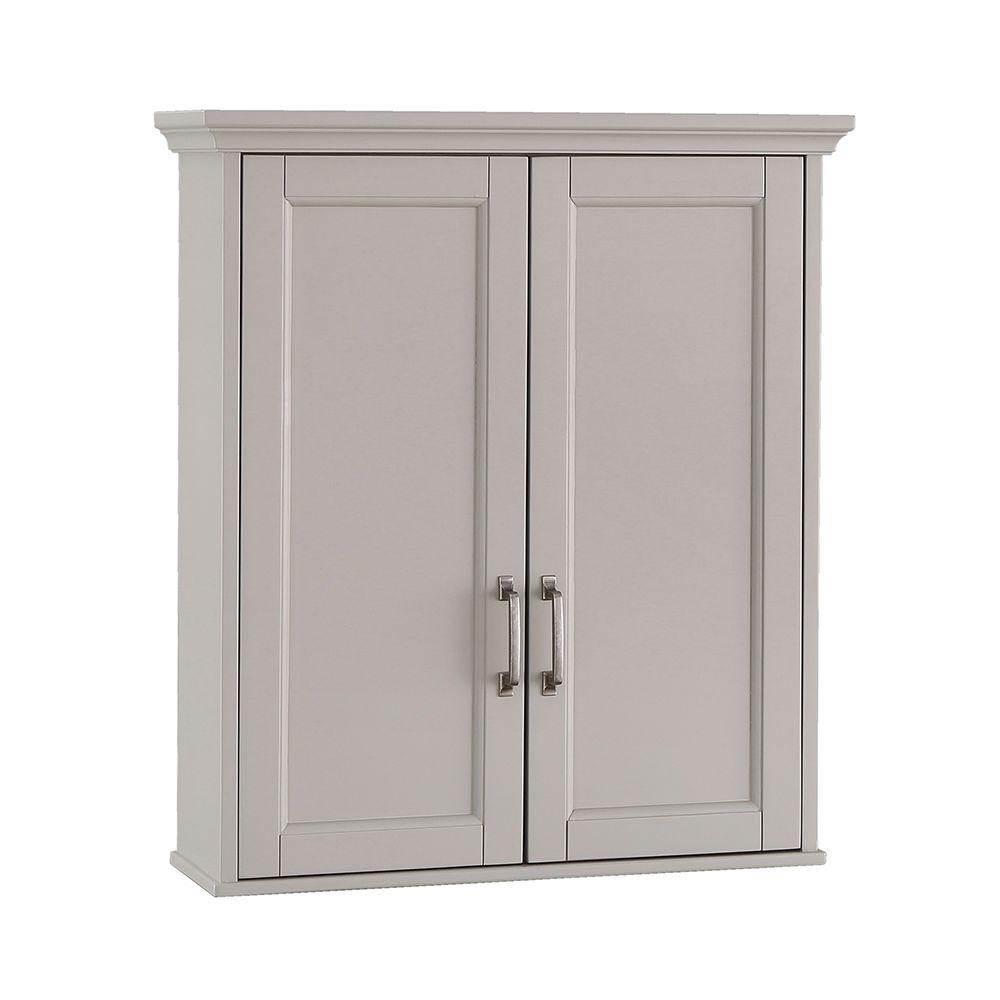 Home Decorators Collection Ashburn 23-1/2 in. W x 28 in. H x 7-88/100 in. D Bathroom Storage Wall Cabinet in Grey