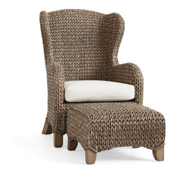 Seagrass Wingback Chair, Gray Wash