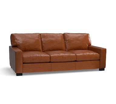 "Turner Square Arm Leather Sofa 85.5"", Down Blend Wrapped Cushions, Legacy Dark Caramel"