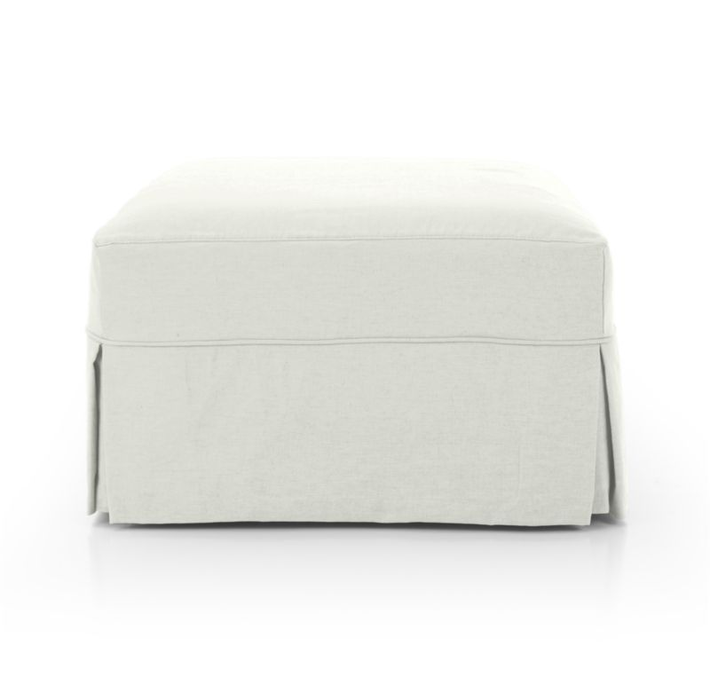 Willow Modern Slipcovered Storage Ottoman with Casters