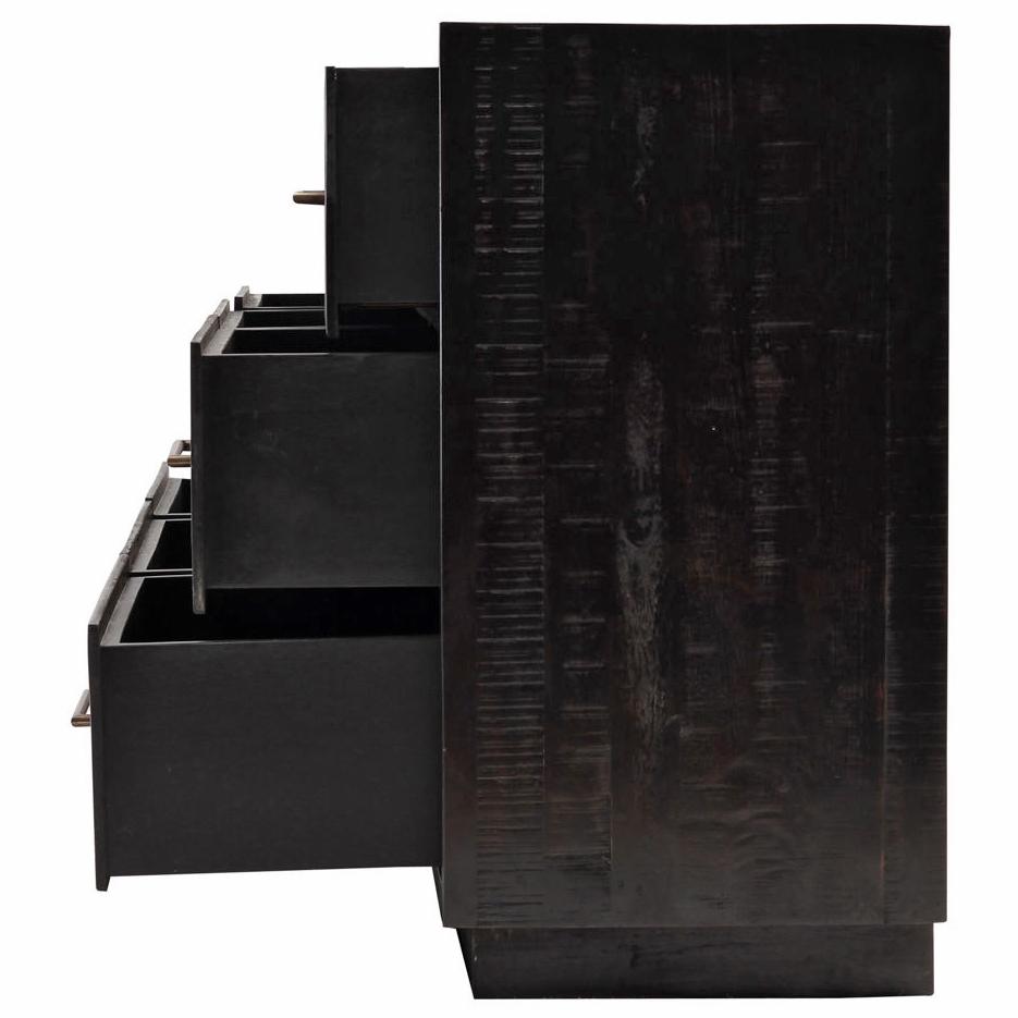 Dorwin Industrial Loft Espresso Brown Wood 9 Drawer Dresser