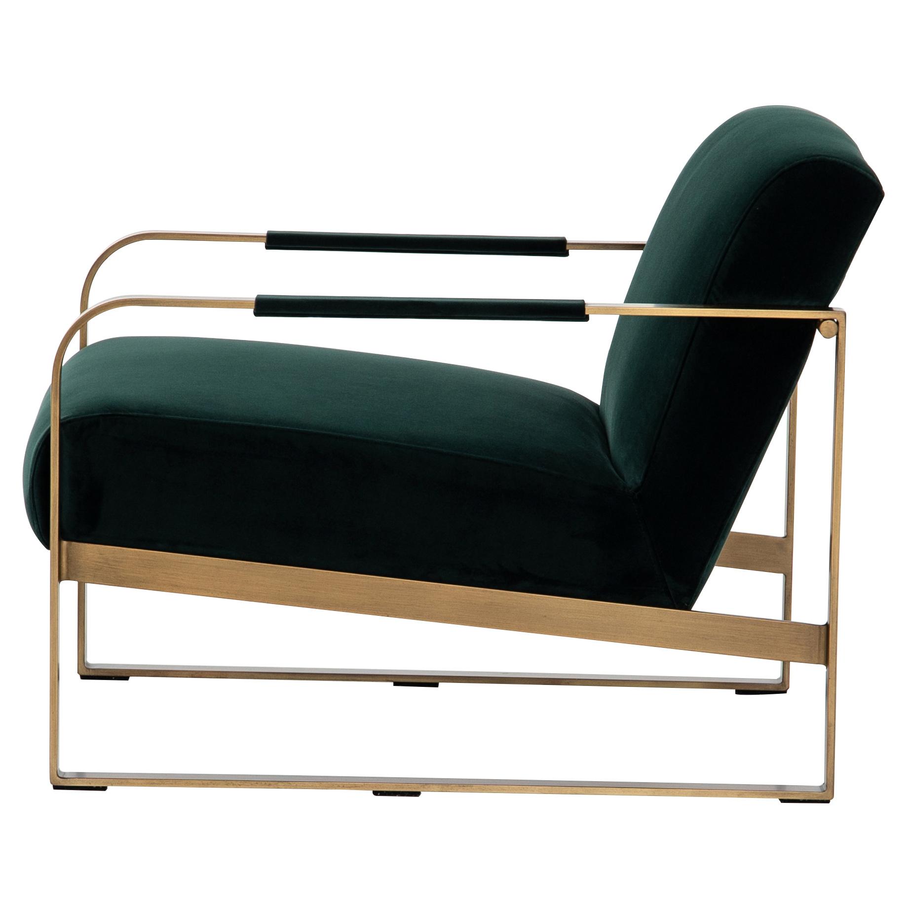Halle Modern Classic Dark Green Upholstered Antique Brass Armchair
