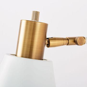 west elm + Rejuvenation Cylinder Sconce, Adjustable, White, Antique Brass