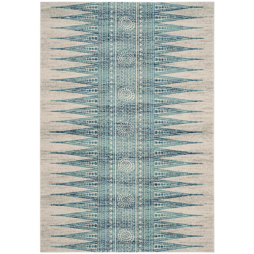 Evoke Ivory/Turquoise 5 ft. x 8 ft. Area Rug