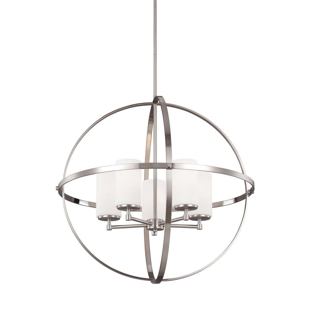 Sea Gull Lighting Alturas 27.25 in. W. 5-Light Brushed Nickel Single Tier Chandelier with Satin Etched Glass Shades