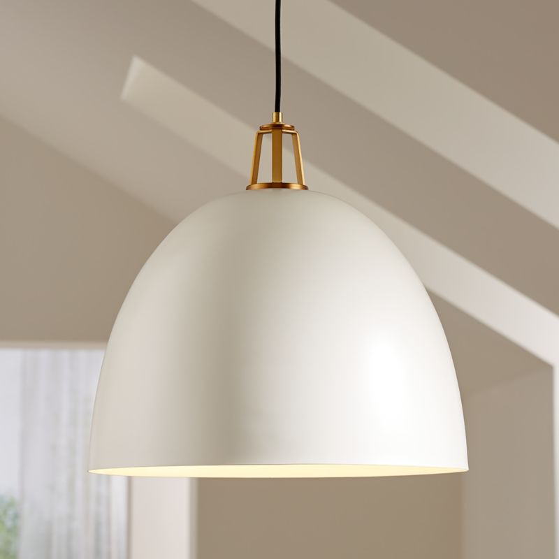 Maddox White Dome Pendant Large with Brass Socket