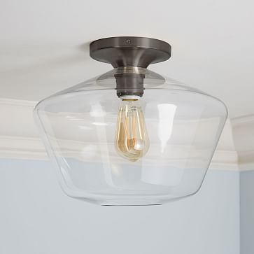 Sculptural Glass Geo Flushmount, Large, Clear Shade, Nickel Canopy