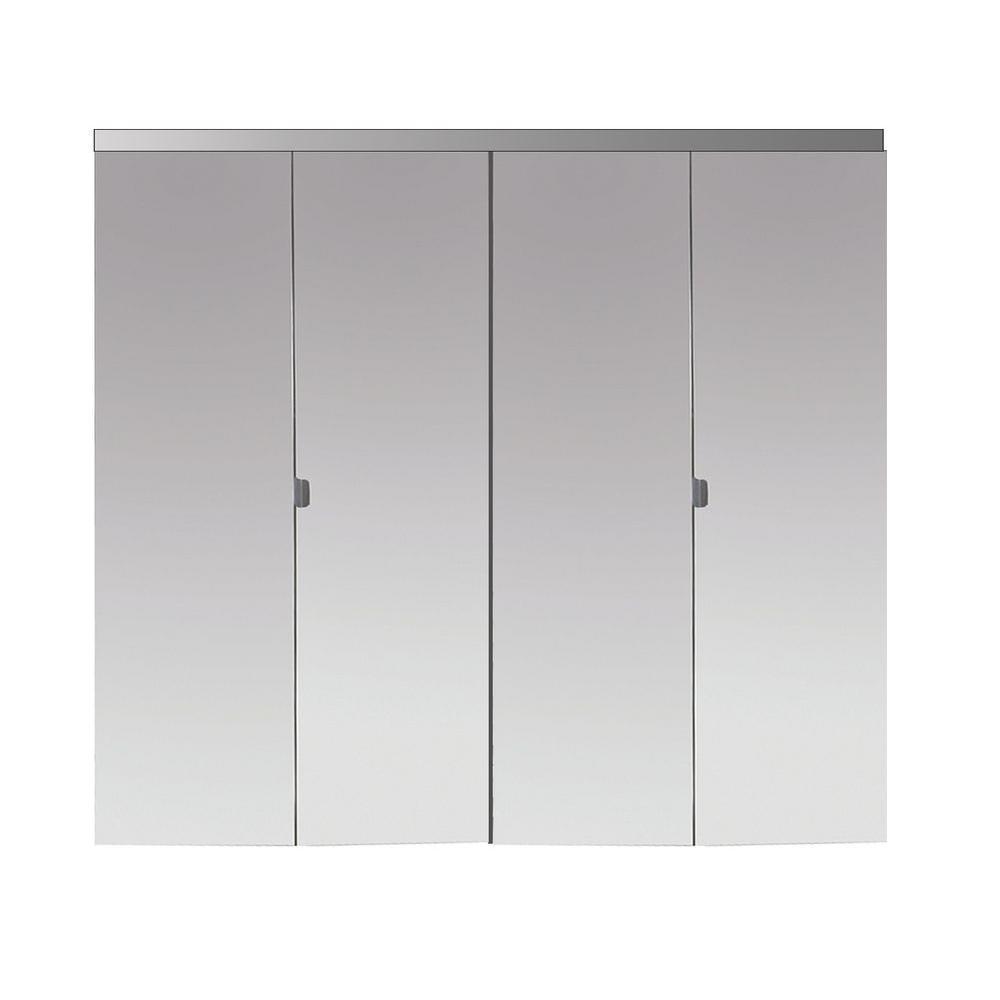 Impact Plus 66 in. x 96 in. Beveled Edge Mirror Solid Core MDF Interior Closet Bi-Fold Door with Chrome Trim