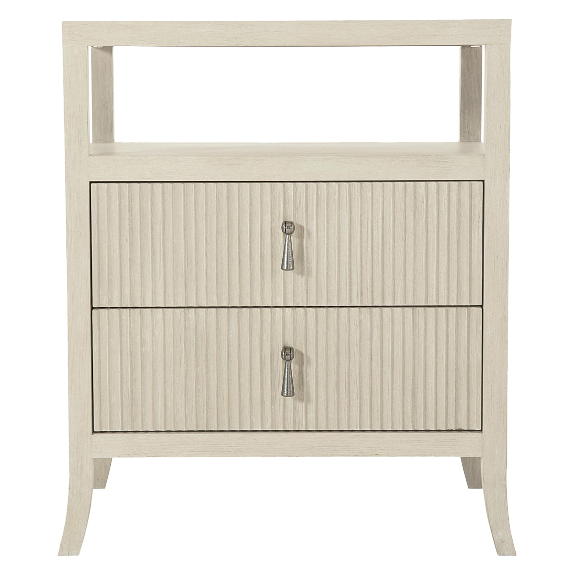 Alice Modern Classic Beige Two Drawer Open Top Shelf Nightstand