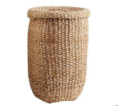 Ibiza Tall Lidded Tote Basket, Honey