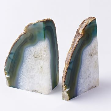 Agate Bookends, Set of 2, Green