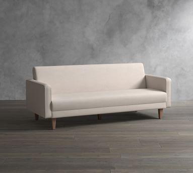 SoMa Edison Upholstered Sleeper Sofa, Polyester Wrapped Cushions, Performance Heathered Tweed Ivory