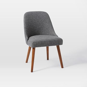 Mid-Century Upholstered Dining Chair, Salt + Pepper, Tweed-Individual