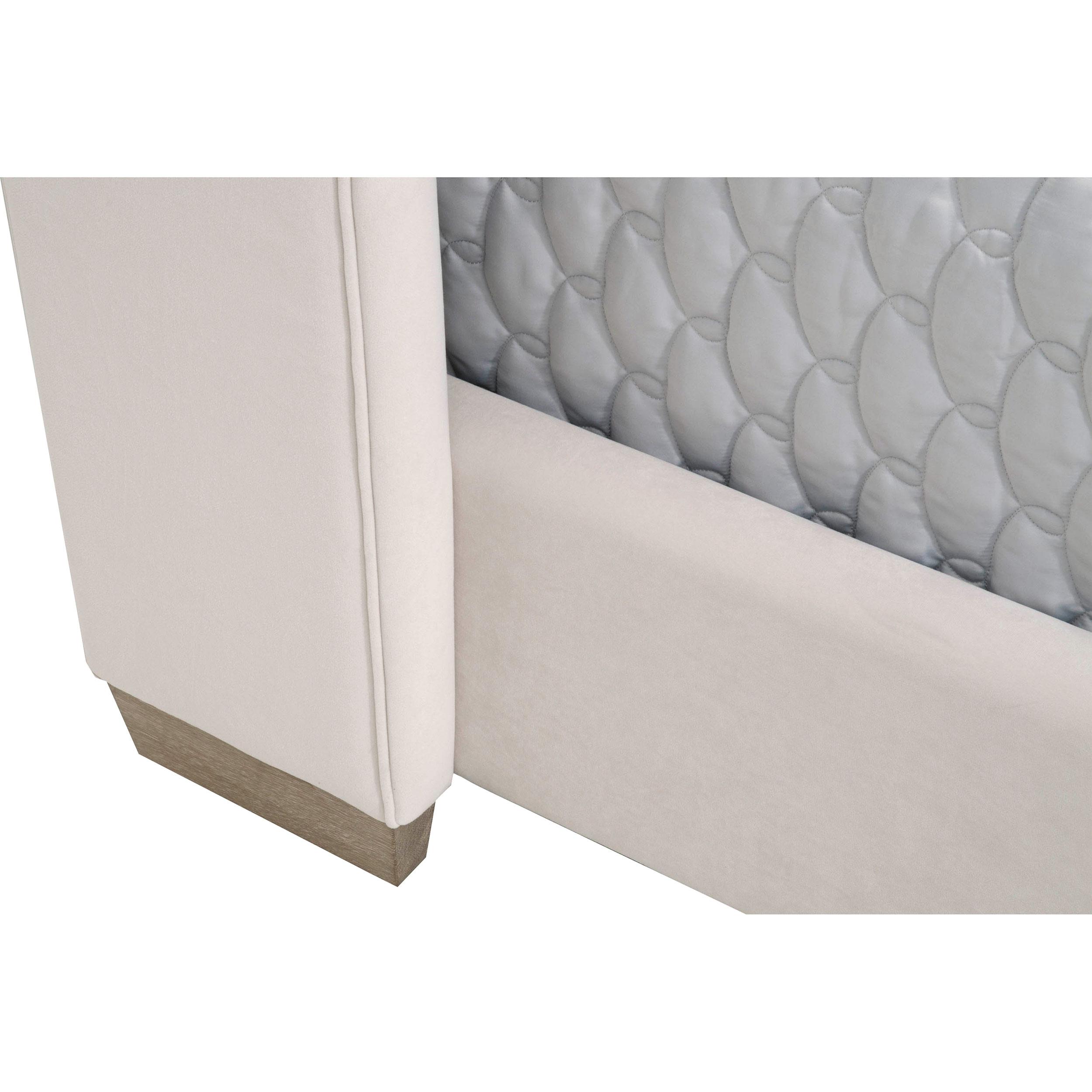 Charo Modern Cream Velvet Upholstered Oak Vertical Channel Wing Bed - Cal King